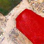 Frightening Blood-red Reservoir in Baghdad (Google Maps)
