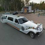 Limo decorated for the wedding party (StreetView)