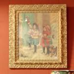Old painting of children decorating for Christmas (StreetView)