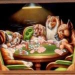 Dogs Playing Poker velvet painting (StreetView)