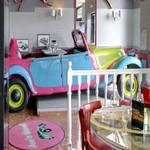 Classic car used as dining place