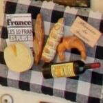 Cheese, bread & wine refrigerator magnet (StreetView)