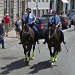 Two Danish policemen on horseback (StreetView)