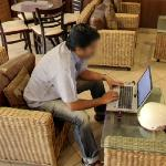 Person using a laptop computer