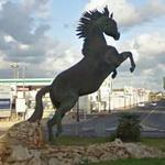 Horse sculpture in a roundabout