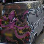 Octopus graffiti on van