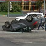 Car flips over (StreetView)