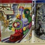 Santa locomotive on a Christmas tin