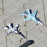 Camouflaged F-18 Hornets (Google Maps)