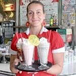 Waitress with milkshakes