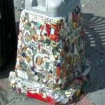 Decorated light posts by Jim Power, the Mosaic Man