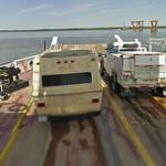 Google car on a ferry