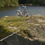 Bike on a rock (StreetView)