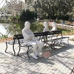 'Three Figures and Four Benches' by George Segal