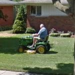 Old Man On A Riding Mower