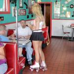 Waitress on roller skates