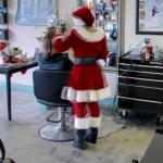 Hairdresser in a Santa Suit