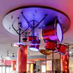 Drum set on the ceiling