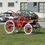 Antique horse-drawn fire truck