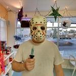Man wearing a Jason Voorhees mask