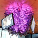 Chandelier made from hockey sticks