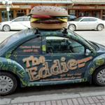Big cheeseburger on a VW Beetle (StreetView)
