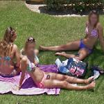 Girls sunbathing