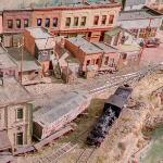 Old West model railroad setup