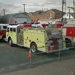 Yellow fire fighting vehicle
