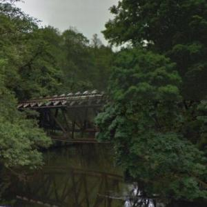 Blown up truss bridge over the Gwda river in Jastrowie (StreetView)