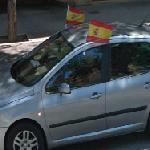Spain flags on car