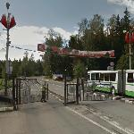Checkpoint to the closed city of Krasnoznamensk (StreetView)