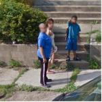 Child Pointing At Google Car (StreetView)