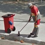 Street sweeper in action