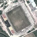 Dilapidated football stadium built in N. Ceaucescu's village (Google Maps)