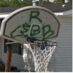 Graffiti on a basketball hoop