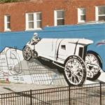 Vintage Indy race car mural