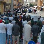 Muslims pray in the street