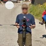 Taking photos of Street View trekker