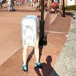 Trash can with legs