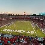 Game in progress at Stanford Stadium