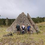 Bicyclists at the Valle Nuevo Pyramids