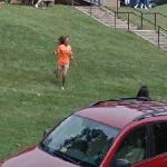 UVA Greeter running/squealing to her friend