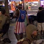 Man in Harlem Globetrotters outfit