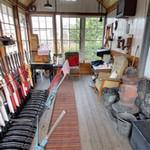 Inside Weybourne old signal box
