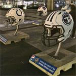 NFL Draft helmet display