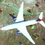Airplane in flight near Hindhead, SW of London (Google Maps)