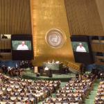 Pope Francis speaking at the UN General Assembly