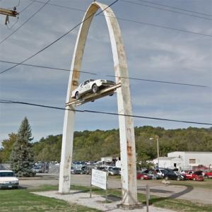 Buick Regal mounted in an arch (StreetView)