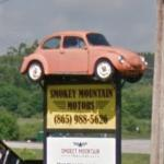 Volkswagen Beetle on a sign pole